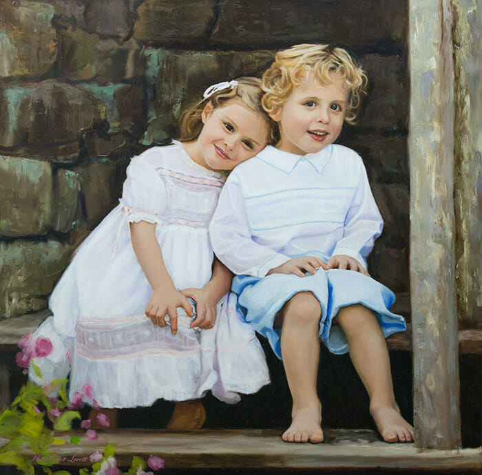 "Commission Oil Portrait Painting 30x30"" on canvas by Mark E. Lovett"