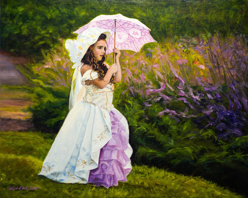 Pink-Parasol Oil Painting by Mark Lovett