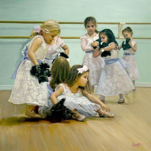"""Little-Ballerinas-&-Kittens-40x40"""" Painting"""