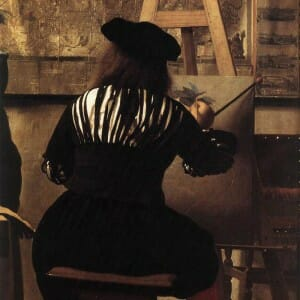 Vermeer at work at the easel picture