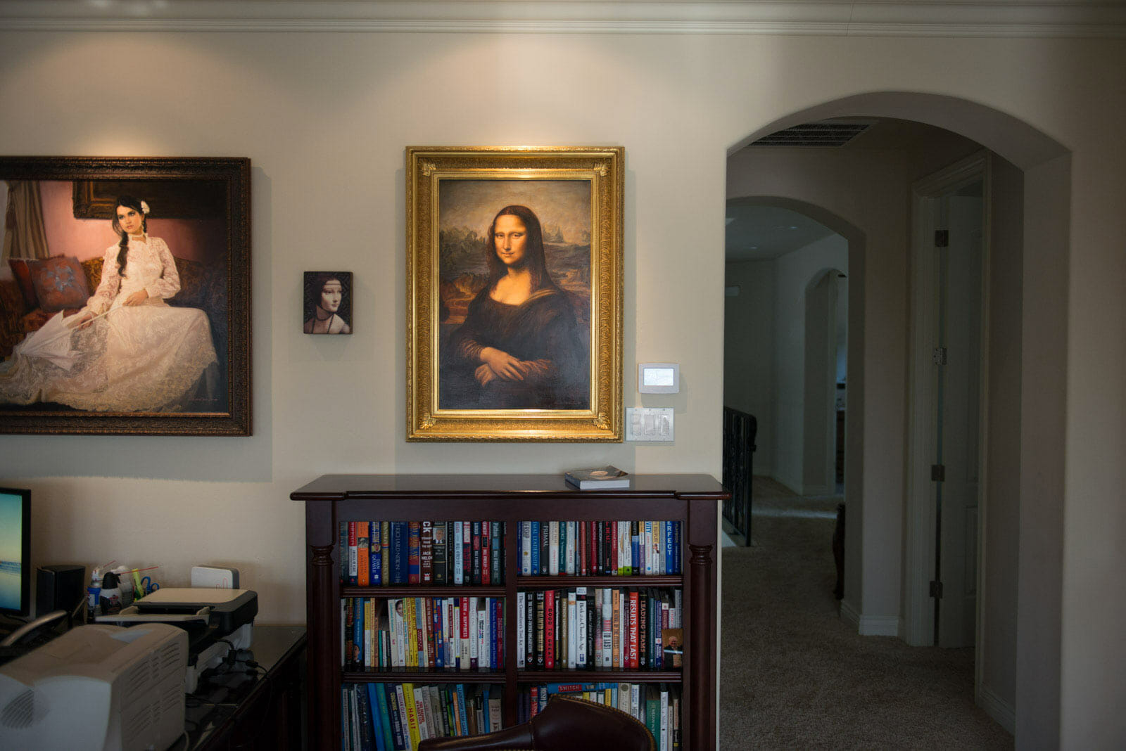 Finished Mona Lisa Painting Commission By Mark Lovett Hanging In Clients  Home Picture