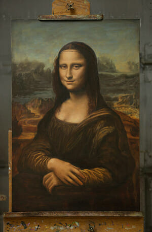Mona Lisa painting reproduction in progress