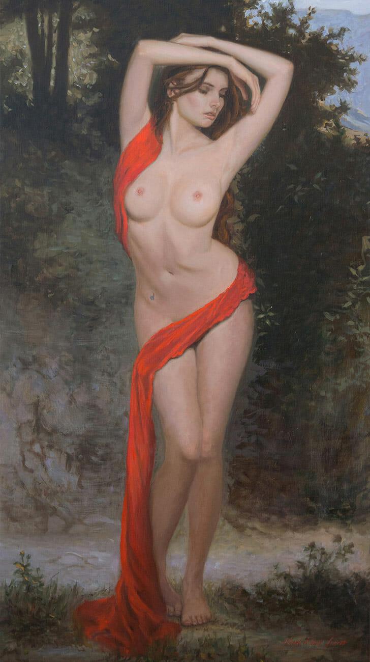 """'Wrapture In Red' - 20x36"""" oil on linen by Mark Lovett at marklovettstudio.com"""
