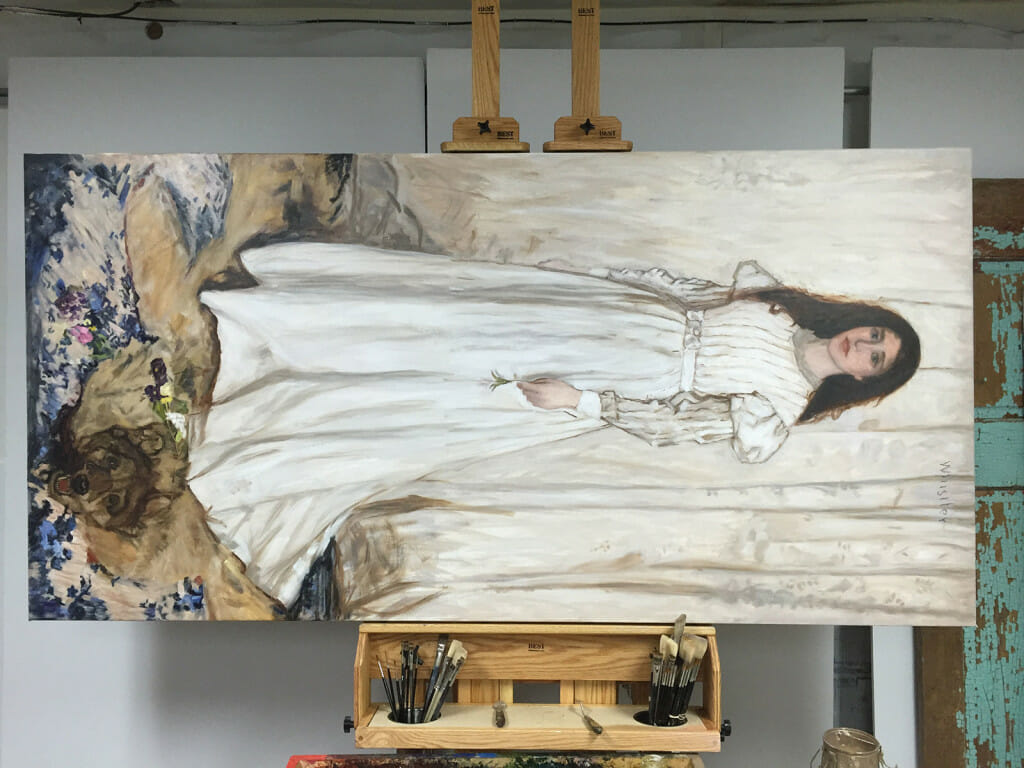 Whistler 'Symphony In White' painting in later stage by Mark Lovett