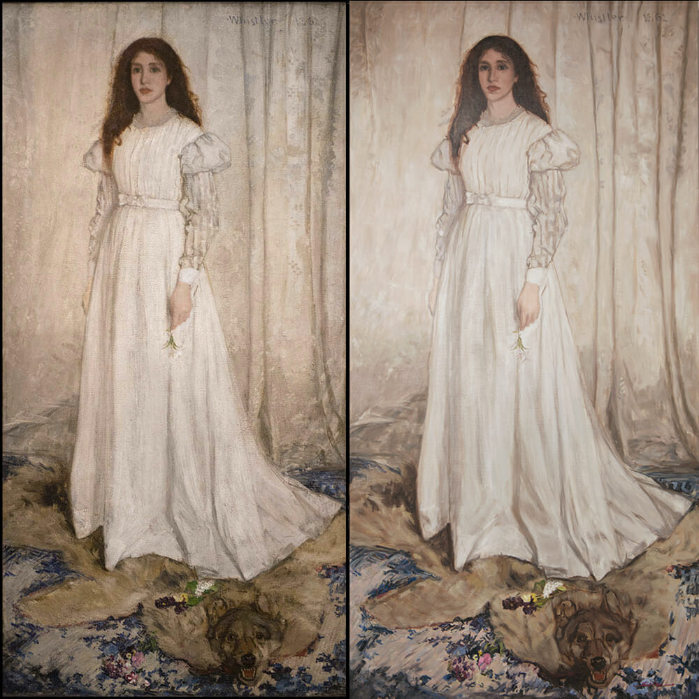 Whistler 'Symphony In White' painting in later stage by Mark Lovett compared to the original on left