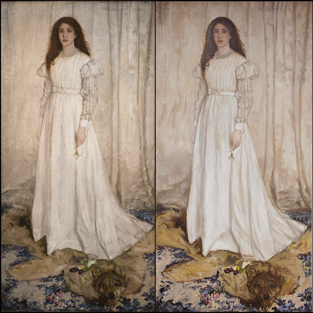 Whistler's Symphony in White painting compared to Mark Lovett's painting in progress