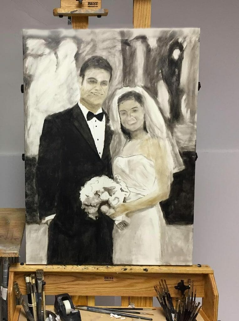 Early, ugly stage for portrait commission Oil Painting
