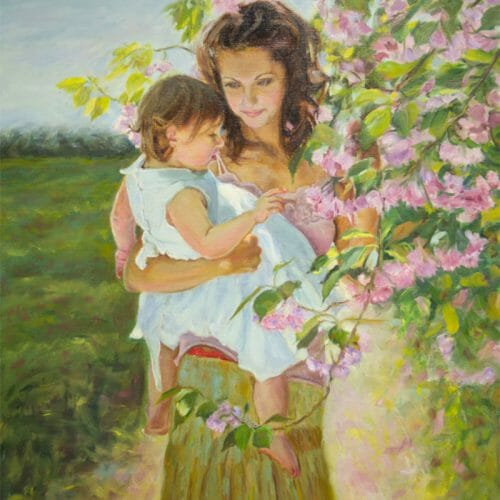 'Mother and Child' oil painting by Mark Lovett