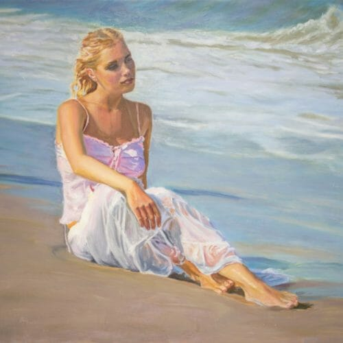 oil painting 'By the Shore' by Mark Lovett