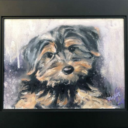 yorkshire terrier puppy portrait painting