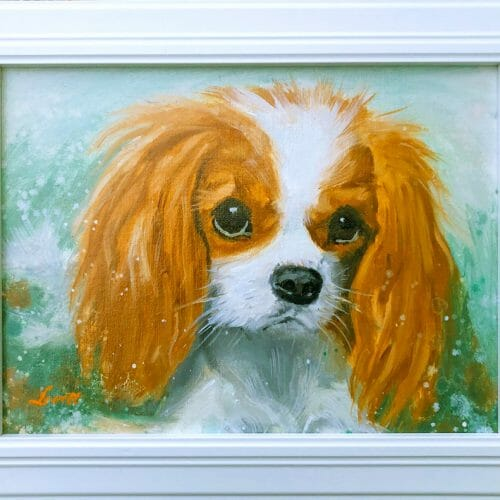 cavalier-puppy-oil-painting