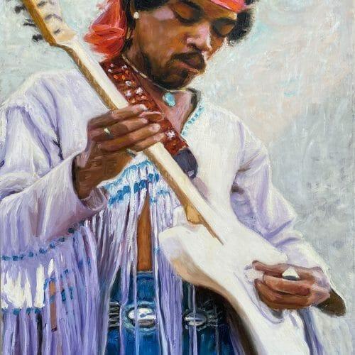 Hendrix at Woodstock Original Oil Painting by Mark Lovett Studio