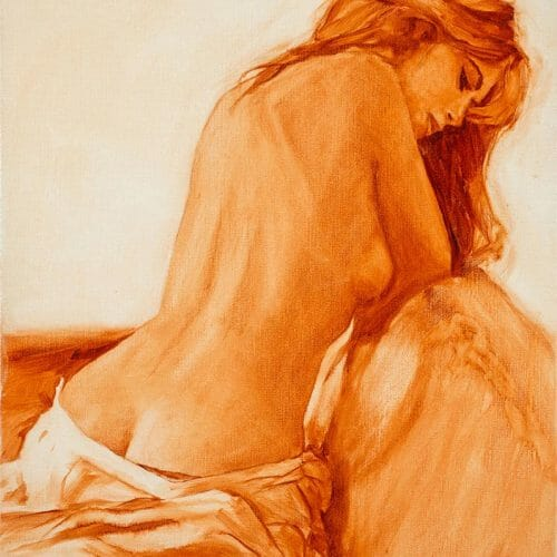 """back pose grisaille 20x30"""" painting"""